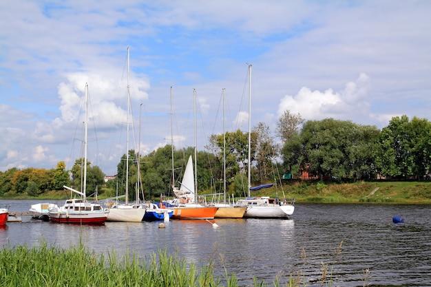 Small sailboats on small river