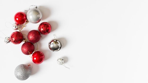 Small shiny baubles on table