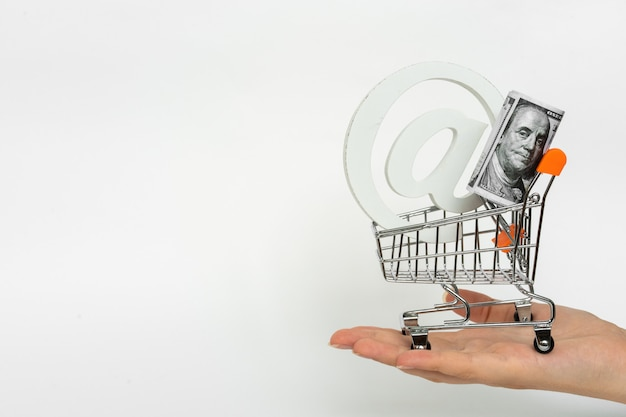Small shopping cart with dollar currency and email on woman palm. shopping online finance concept.