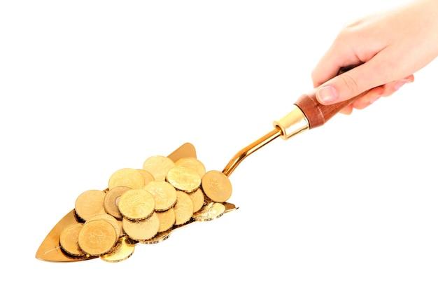 A small shovel full of golden coins over white