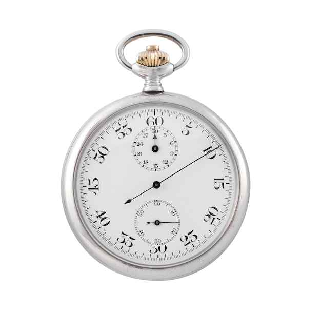 Small silver clock  on a white surface