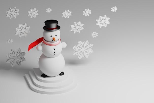 Маленький снеговик в праздничной шапке с красным шарфом и падающими снежинками, стоящий на постаменте