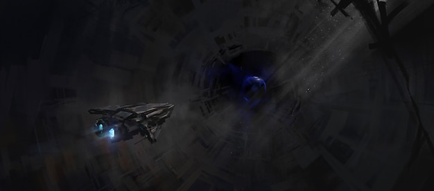 Piccola navicella spaziale che naviga in una stazione spaziale abbandonata, illustrazione 3d.