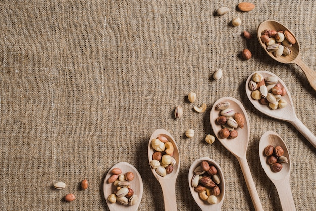 Small spoons with assorted nuts