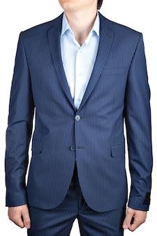 白い背景で隔離の男性のための小さな縞模様の青、結婚式またはウエディングスーツのジャケット。