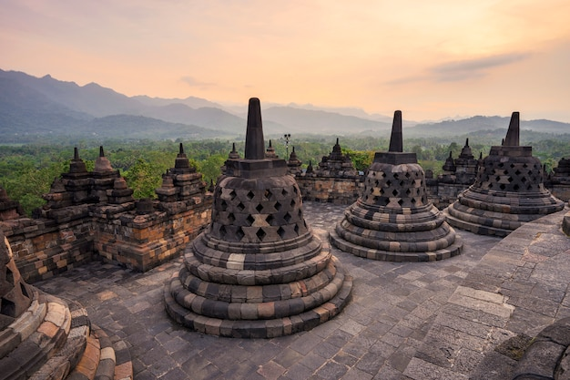 Small stupa in borobudur, buddist temple in yogyakarta, indonesia