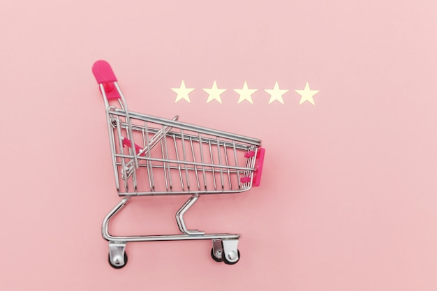 Небольшой супермаркет продуктовой тележки для покупок игрушек с колесами и рейтингом 5 звезд