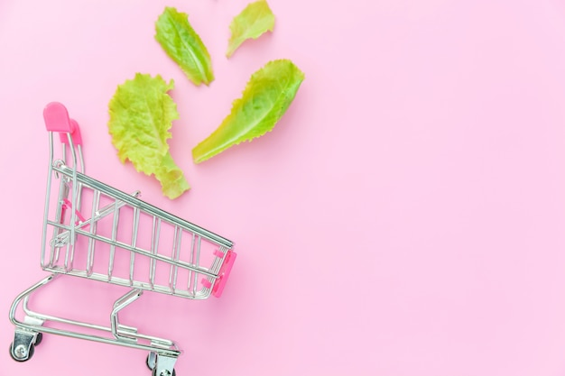 Small supermarket grocery push cart for shopping with green lettuce leaves isolated on pink background