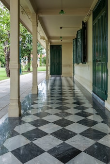 Small terrace with the marble tile floor.