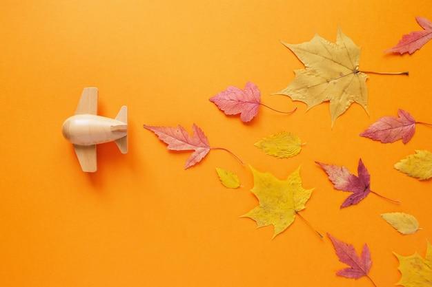 Маленький игрушечный самолетик с осенним листом. осенняя концепция