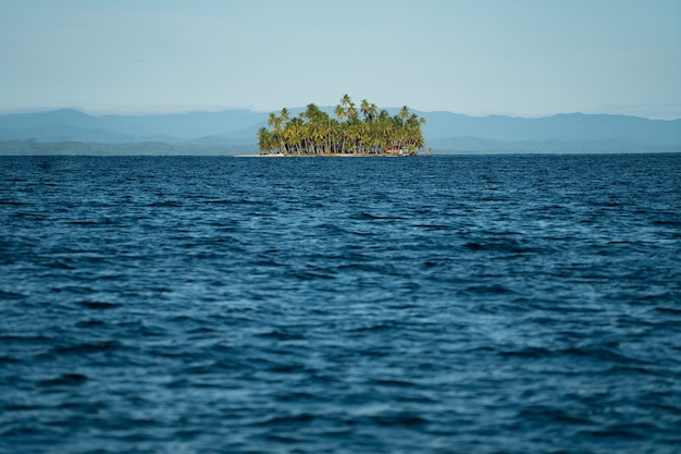 Небольшой тропический остров с кокосовыми пальмами и белым песчаным пляжем копирует пространство для отдыха и путешествий ...