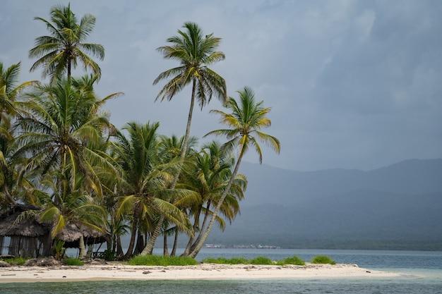Небольшой тропический остров с кокосовыми пальмами и концепцией отдыха и путешествий на пляже с белым песком