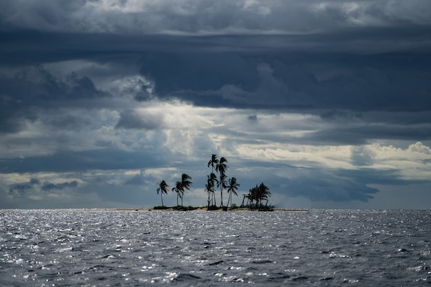 嵐の曇りの天気の冒険の孤独の間にココナッツ椰子の木がある小さな熱帯の島と...