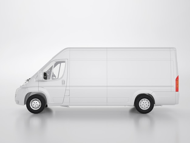 Small truck on a white background. clipping path. 3d render and illustration.