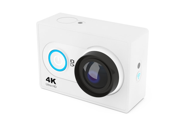 흰색 바탕에 작은 울트라 hd 액션 카메라. 3d 렌더링