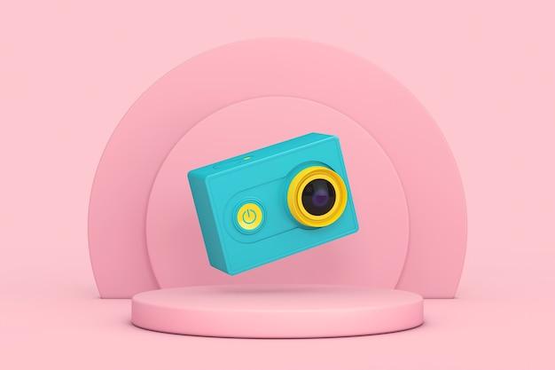 Маленькая камера действия синих и желтых ultra hd над розовыми баллонами продукты этап постамента на розовом фоне. 3d рендеринг