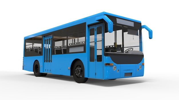 Small urban blue bus on white