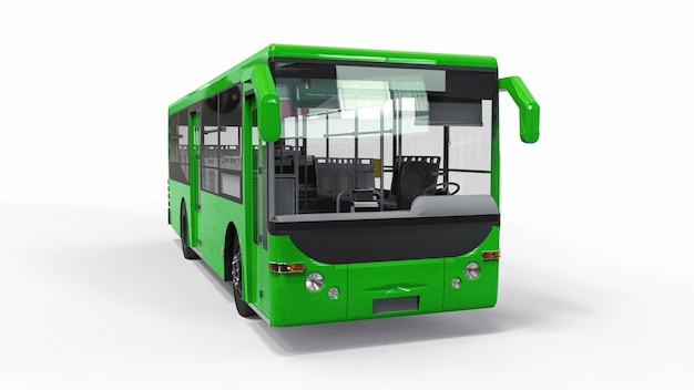 Small urban green bus. 3d rendering.