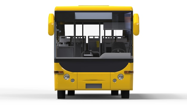Small urban yellow bus on a white surface