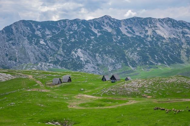 青い空に白い雲と美しい緑の草の山に囲まれた小さな村