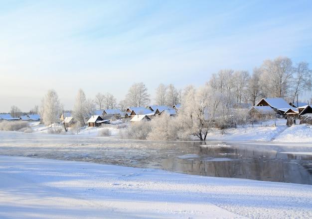 Small village on coast river