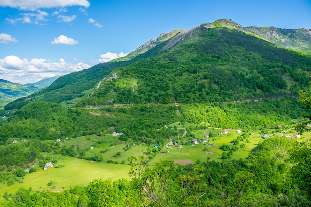 A small village is located in the mountains of montenegro.