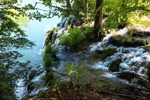 플리트 비체 호수 국립 공원 (크로아티아)의 작은 폭포와 깨끗한 호수