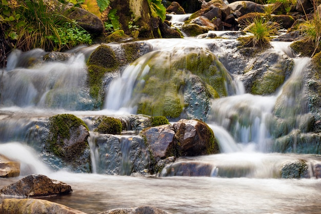 Малый водопад в парке с красивой ровной водой. маленький водопад в горном лесу с шелковистой пенящейся водой.