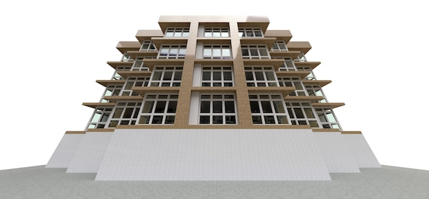 Small white and beige condominium with elevator and garage. 3d rendering.