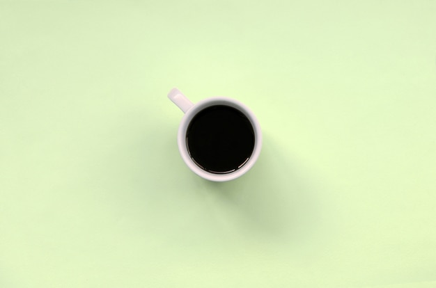 Small white coffee cup, top view