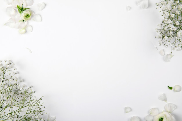 Small white flowers on a white background, mockup design element for valentines day and mother day