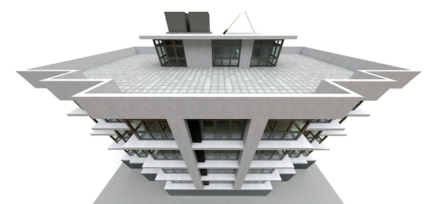 Small white-gray condominium with elevator and garage. 3d rendering.