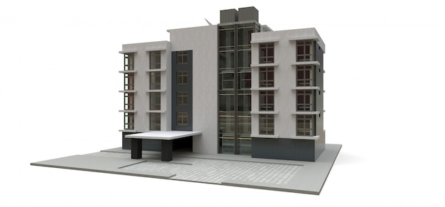 Small white and gray condominium with elevator and garage
