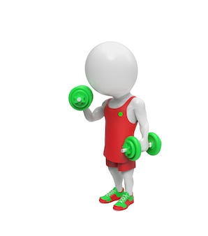 Small white person with dumbbells isolated