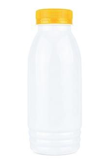 Small white plastic bottle with orange cap isolated on white background