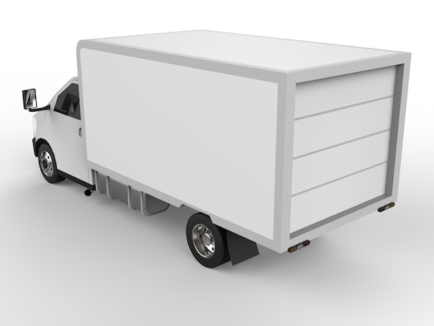 Small white truck. car delivery service. delivery of goods and products to retail outlets