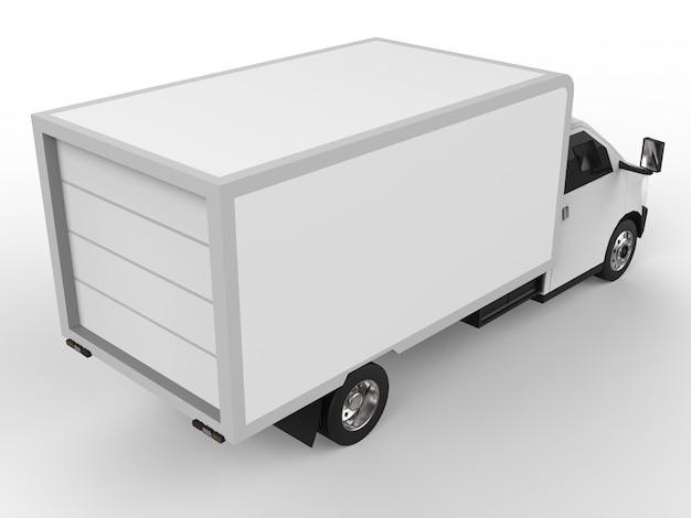 小さな白いトラック。車の配送サービス。小売店への商品および製品の配送。 3dレンダリング。