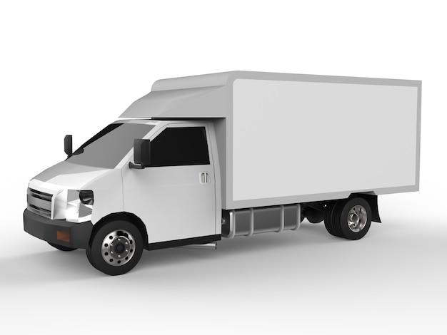 小さな白いトラック。車の配達サービス。小売店への商品や製品の配送。 3dレンダリング。