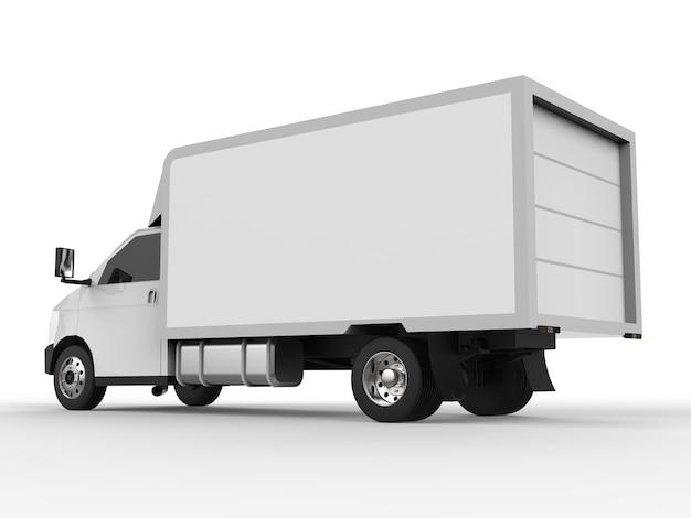 작은 흰색 트럭. 자동차 배달 서비스입니다. 상품 및 제품을 소매점으로 배송합니다. 3d 렌더링.