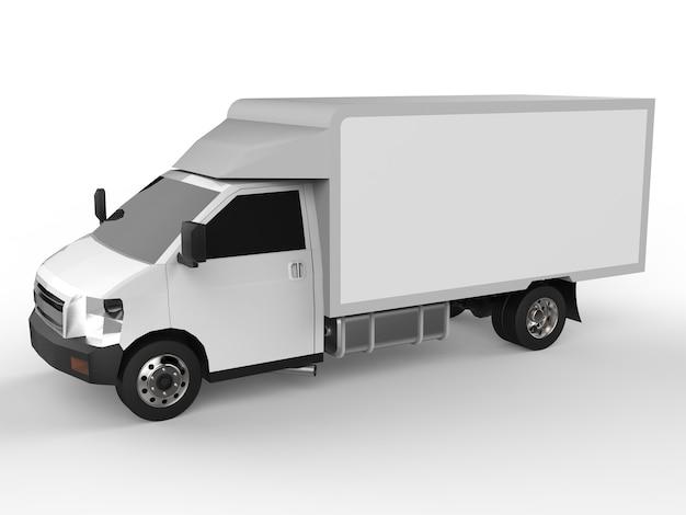 작은 흰색 트럭. 자동차 배달 서비스입니다. 소매점에 상품 및 제품 배송. 3d 렌더링.