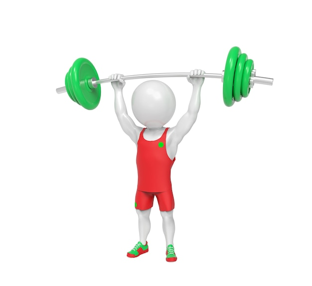Small white weight-lifter raises the bar over white background