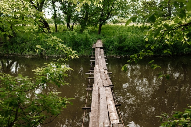 A small wooden bridge over a mild stream in a green park.