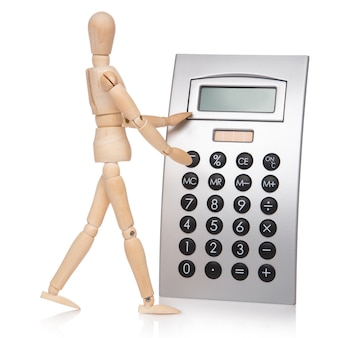 Small wooden dummy and calculator