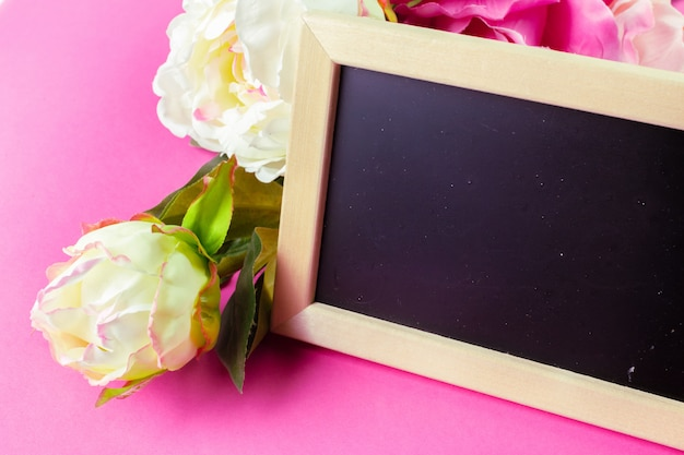 Small wooden framed blank blackboard for your design