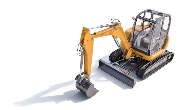 白い背景の上の小さな黄色の掘削機。 3dレンダリング