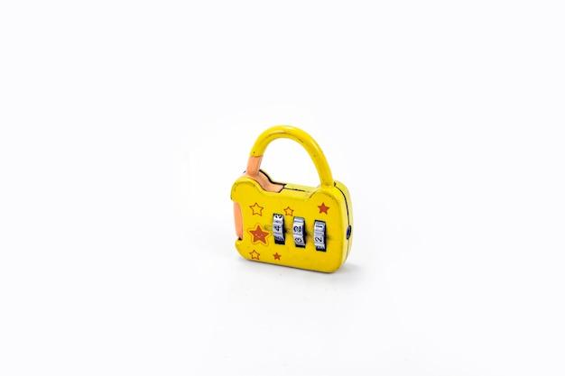 Small yellow padlock on white background