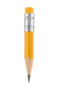 Small yellow pencil with eraser isolated