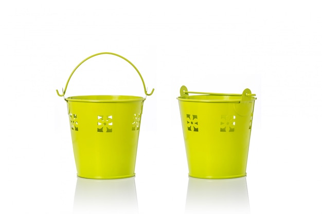 Small yellow vintage metal bucket.