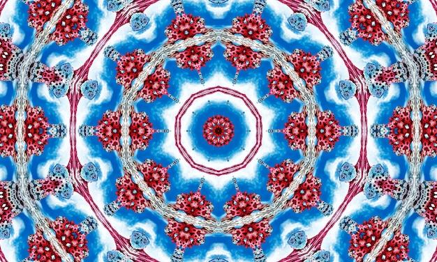様式化された花の形をしたスマートな青い円形の飾り。包装、スクラップブッキング、ギフト包装、本、小冊子、アルバムの製造のためのカレドスコープパターン。
