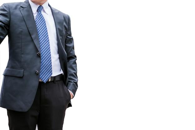 白い背景の上のネクタイとウェアスーツのスマートビジネスマン